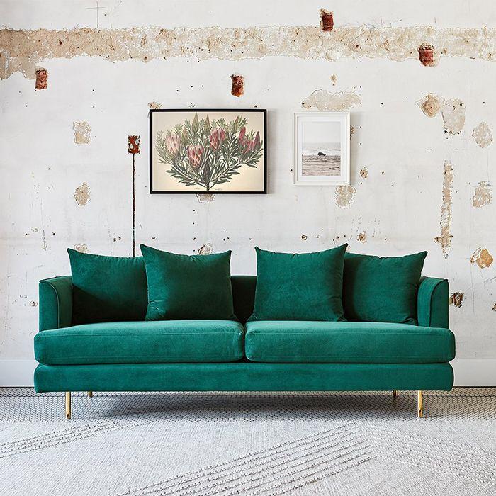 sofa tapizado verde terciopelo tendencia 2020 sofamobbel